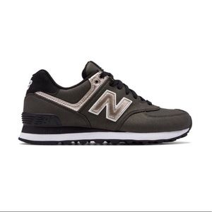 New Balance 574 in Metallic Black and Rose Gold